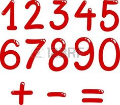 illustration of numbers from zero to nine and math symbols photo
