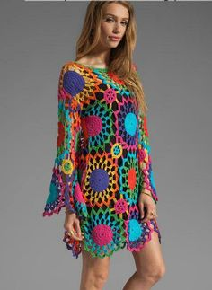 Colourful crochet dress