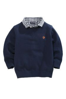Navy Mock Crew With Check Shirt (3mths-6yrs)