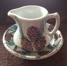 TEPCO CHINA PINE CONE PATTERN CREAMER OR SMALL PITCHER WITH SAUCER