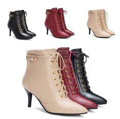 Schnürer Damen Spitz Zehe Ankle Boots Leder Gr.30-48 Hoher Stiletto Absatz Edel