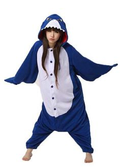 The shark onesie for adults is one that is terrifically fun simply because it looks extremely royal, cool and smart at the same time. With the facial expression of an offended and angry shark on the h