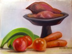 Jamaican artist INANSI real life drawing with pastel titled Food Palette Experience Jamaique