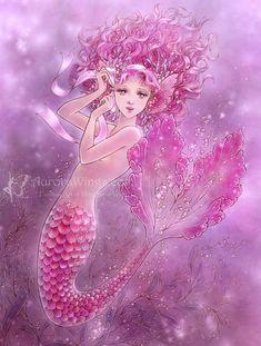 "ladytedra: "" ""Pink ribbon mermaid""_ artwork by Mitzi Sato-Wiuff. Source: www.aurorawings.com/mermaids.html """
