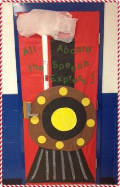 The Speech Express classroom door | http://homemadespeech.com/ - my train lovers would love this!