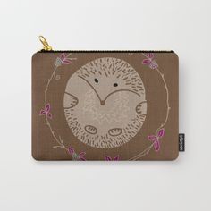 Autumn Hedgehog pouch $14.00 Organize your life with our Carry-All Pouches. Available in three sizes with wraparound artwork, these pouches are perfect for toiletries, art supplies or makeup. Even an iPad fits into the large size. Features include a faux leather pulltab for easy open and close, a durable canvas-like exterior and a 50/50 poly-cotton black interior lining. Machine washable.