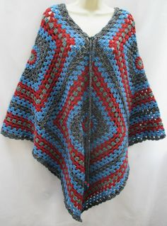 Vintage Retro Hand Crafted Grey Terracotta Crochet Poncho Cape Hippy Granny NEW