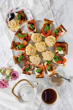 Pesto Egg Salad with Drop Biscuits, Open-Faced Caprese on Focaccia Drop Biscuits, Cookies Et Biscuits, Pesto Eggs, Baking With Olive Oil, Open Faced Sandwich, Mini Sandwiches, Balsamic Glaze, Pesto Sauce, Egg Salad