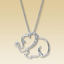 Sterling Silver Lab-Created White Sapphire Elephant Necklace