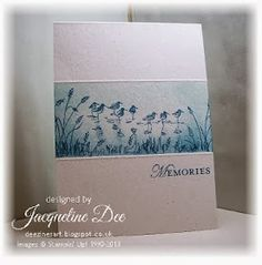 Stampin Up - Wetlands - Jacqueline Dee - I scored the card before masking off the top and the bottom, I then used sponges to add the blue ink. A darker blue was used to stamp the reeds and the birds and then the sentiment.  Materials - Stampin' Up Stamps: Wetlands, Loving Thoughts Ink: Soft Sky, Midnight Muse Card Stock: Naturals White