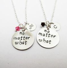 2 best friends necklaces with Swarovski birthstone by RobertaValle