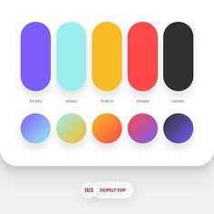Dopely Colors #103 7C5EFD • 99EEEE • F7BC23 • FF4848 • 303030 - Gradients Setting Rotatio