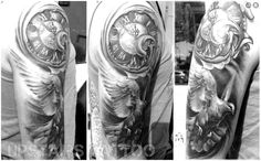 #tattoo #clock #black&grey #white #bird #dove #realistic by Mihai Bizduianu