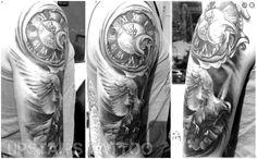 by Mihai Bizduianu Tattoo Clock, In Memory Of Dad, Statue, Bird, Tattoos, Grey, Black, Gray, Tatuajes