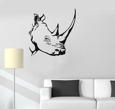 Our vinyl stickers are unique and one of a kind! Every sticker we sell is made per order and cut in house! We make our wall decals using superior quality interior and exterior glossy, removable vinyl Wall Drawing, Line Drawing, Drawing Ideas, Vinyl Decor, Vinyl Wall Decals, Wall Stickers Unique, Rhino Pictures, Rhino Tattoo, Tribal Drawings