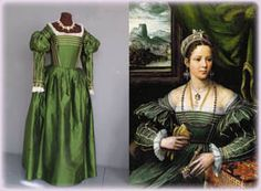 Costume of the Late Renaissance....First half of the 16th century, Italy...this costume is of the late Italian Renaissance. This dress was based on a painting by Kempeneer
