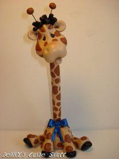 Giraffe Pen Polymer Clay Figurine Collectible by bettyscutiestuff