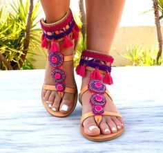 OFF FUCHSIA sandals/ boho sandals/ leather sandals/hot