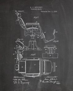 You will love this unique archive print of an 1898 Barber's Chair patent, presented as a vintage industrial or steampunk style drawing. It is part of our curated collection of the most unique, novel a