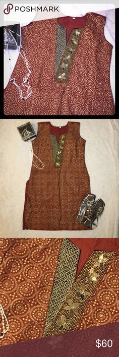 Beaded Shift Dress or Tunic in Rust Amazing bead and embroidery work adorn this new garment that comes with attached sash or head wrap. A few of the leaves are missing but is hardly noticeable. Rust color is perfect for the Fall season. Wear as a dress or pair with jeans for a chic look. Import Dresses