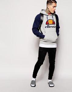 Shop Ellesse Logo Hoodie Raglan Sleeves at ASOS. Mens Sliders, Men Fashion, Fashion Online, Nike Slippers, Adidas Slides, Socks And Sandals, Ellesse, Boys Wear, Mens Jumpers