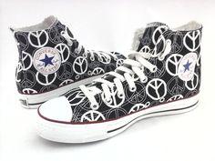 b3ed81356dee8c CONVERSE High Top Shoes Peace Sign Black White Sneakers Men s 7 Women s 9  RARE