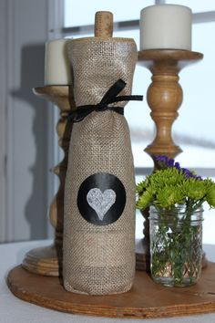 Burlap-Chalk cloth Wine Bottle Bag on Etsy, $6.00