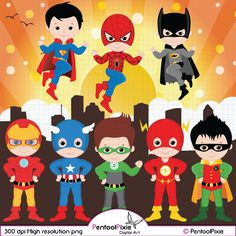 Superhero clipart Super Hero clipart Superhero by PentoolPixie