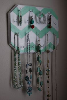 Mint Green Chevron Design Hand Painted Wall Mounted Jewelry Organizer