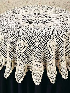 Delightful Crochet   Kitchen Patterns   Table Toppers   Tablecloth Pineapple Crochet  Pattern   Round Pineapple Tablecloth