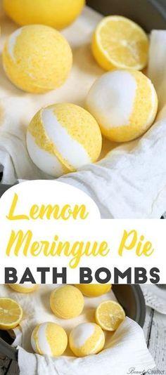 Lemon Meringue Pie Bath Bombs - the perfect uplifting DIY Bath Bomb recipe for h. Lemon Meringue Pie Bath Bombs - the perfect uplifting . Diy Masque, Homemade Bath Bombs, Diy Bath Bombs, Recipe For Bath Bombs, Bath Bombs Scents, Lush Bath Bombs, Bath Bomb Recipes, Soap Recipes, Lemon Meringue Pie