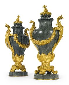 Ferdinand Barbedienne, French, 1810-1892. A pair of gilt bronze-mounted green marble vases, Paris, late 19th century.