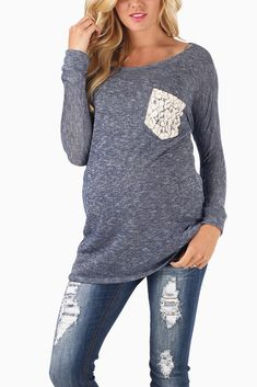 Navy-Blue-Knit-Crochet-Pocket-3/4-Sleeve-Maternity-Top