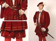 Tudor Costume — Tudor courtier's suit. Tudor Costumes, Cool Costumes, Tudor Tailor, Courtier, Elizabethan Era, Renaissance Costume, Art Themes, Red Dragon, Historical Clothing