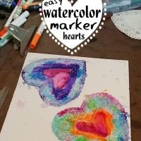 Easy Valentine Craft - Watercolor Marker Heart Doilies