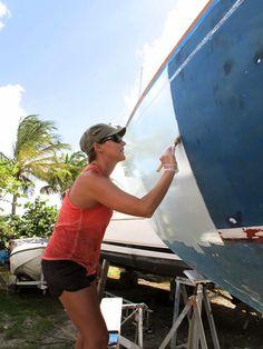 Not Quite Seasoned, but Very Well Salted: Painting the Hull Sailboat Living, Living On A Boat, Sailboat Restoration, Used Sailboats, Sailboat Interior, Yacht Interior, Interior Design, Sailing Catamaran, Sailing Boat