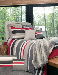 Sold with shams. Shown with Pepe throw and Log greige cushion. Available on line and at your Brunelli retailer. Soft Duvet Covers, Duvet Cover Sets, Greige, Flannel Duvet Cover, Pillow Shams, Pillows, Bold Stripes, Decorative Cushions, Bedding Sets