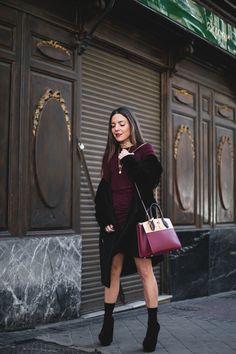Burgundy Crush. Burgundy top and skirt+ black socks+burgundy ankle strap velvet sandals+black fur coat+burgundy schoulder bag+gold choker and necklaces. Winter Event Outfit 2017