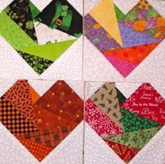 Directions for two heart blocks:  The paper pieced one shown (pdf. available) and a pieced heart.