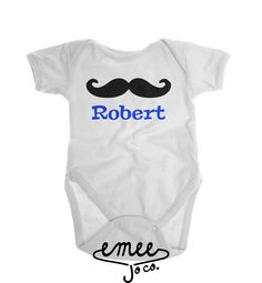 Mustache Name baby girl clothes baby boy clothes