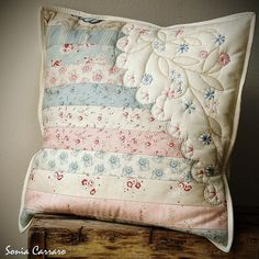 My pattern, patchwork with hand embroidery Patchwork Pillow, Hand Embroidery, Needlework, Throw Pillows, Sewing, Pattern, Room, Crafts, Quilts