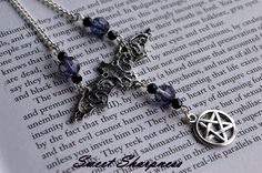 Gothic bat and pentacle necklace    www.etsy.com/shop/SweetSharpness