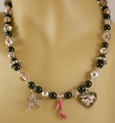 Black Czech Necklace with Pink Heels charm by BlingbyDonna on Etsy, $33.00