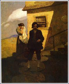 "Wyeth ""Jim Hawkins Leaves Home"", illustration for Robert Lewis Stevenson's Treasure Island. Jamie Wyeth, Pulp Fiction, Illustrations, Illustration Art, American Illustration, Andrew Wyeth Paintings, Nc Wyeth, Howard Pyle, Long John Silver"