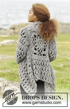 Stony Ridge by DROPS Design. Square shaped coat in lovely DROPS Cloud. Free #crochet pattern
