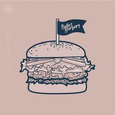 Bella's Burgers Digital Illustration by Zoe Sizemore of CIP Design Studio.