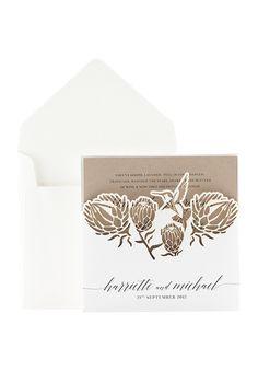 Precious Protea Invitation Wedding Groom, Rustic Wedding, Our Wedding, Wedding Stationary, Wedding Invitation Cards, Protea Wedding, Protea Flower, Lazer Cut, Pop Up Cards