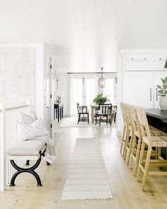 Ideas That You Can Learn From Modern Farmhouse Paint Colors Interiors , Colors can change slightly because of natural light, artificial light and the decor which you already have in your residence. This color is just emplo. Farmhouse Paint Colors Interior, White Hallway, Decor, Living Room Interior, Interior, Black Kitchen Island, Home Decor Kitchen, Coastal Interiors, Home Decor