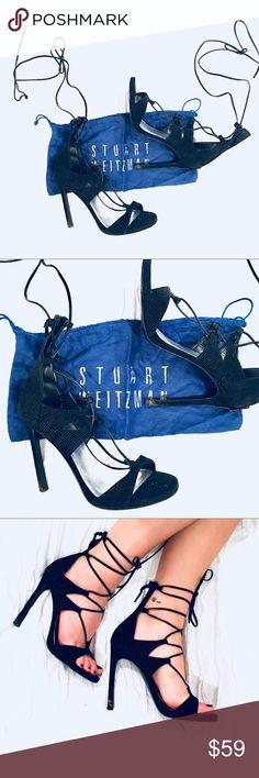 "Stuart Weitzman black leg wrap heel (Size 7) Stuart Weitzman ""Leg Wrap"" heel in black goosebump, size 7 M. Fits a 7 or 7 1/2 women's US shoe size. Stuart Weitzman Shoes Heels"