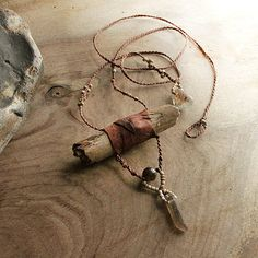 Drift wood pendant with leather, Smokey Quartz & Shaman Dream Stone (Lodolite)